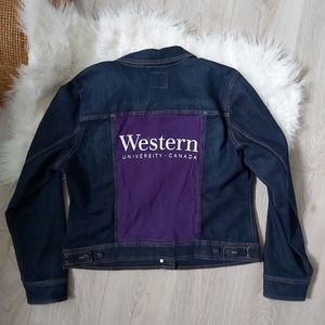 Dark denim old navy reworked Western Uni jacket